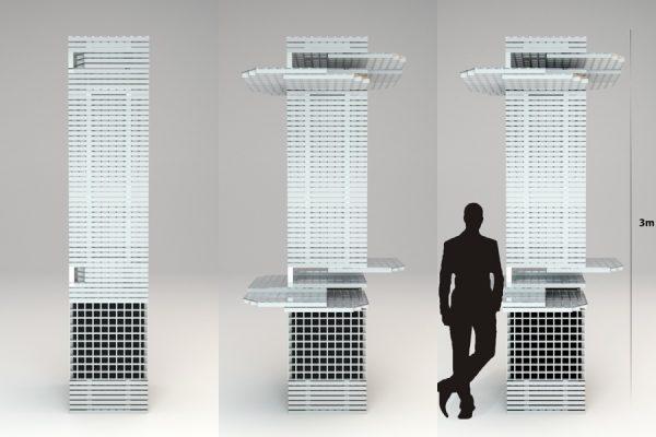 Talking Tower, een zuil van hergebruikt materiaal